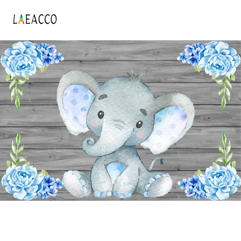 Laeacco Elephant Flowers Wooden Boards Wall Scene Baby Children Photography Backgrounds Photographic Backdrops For Photo Studio