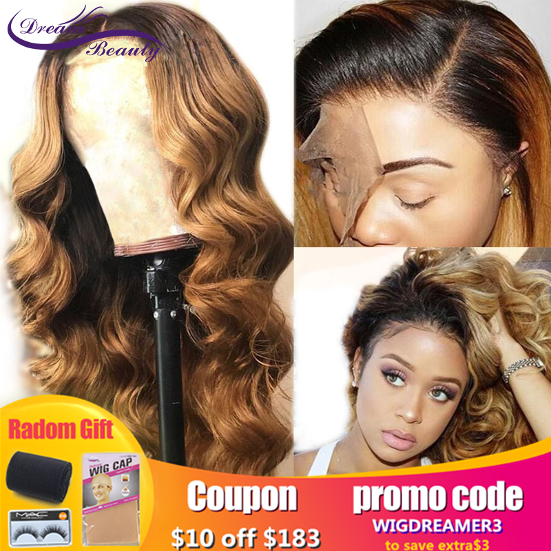 180 Density Ombre Human Hair Wig With Baby Hair Colored 1b/27 Dark Roots Honey Blonde 13X6Lace Front Human Hair Wig Dream Beauty