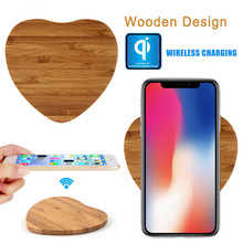 Woodgrain Heartless Wireless Charger Rechargeable Mobile Phone Watch for iPhone 8 X XS Max XR Apple 4 3 2