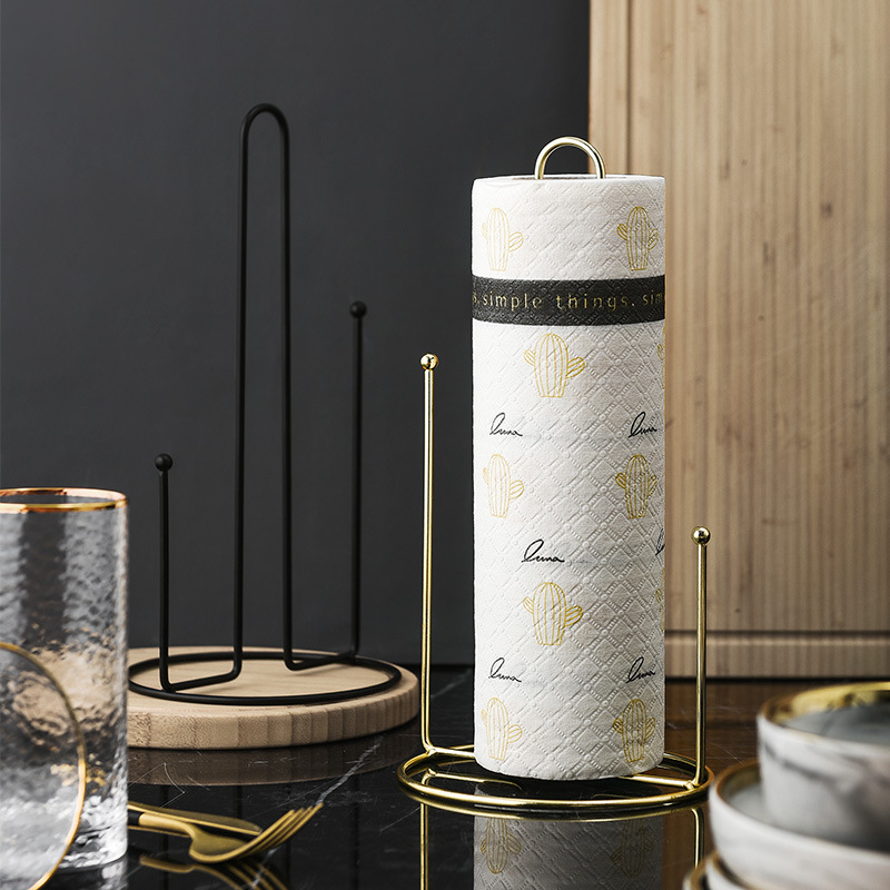 Minimalist Kitchen Vertical Wrought Iron Paper Towel Holder Home Dining Table Roll Holder Paper Towel Rotating Storage Rack
