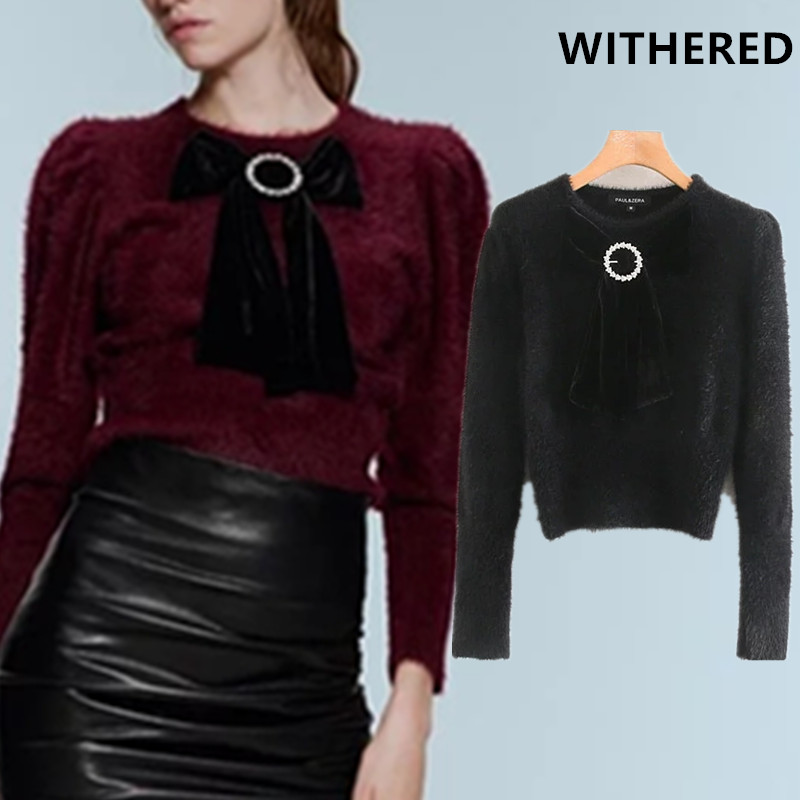 Withered Winter Sweaters Women England Office Lady Bow In Front O-neck Solid Mohair Pull Femme Sweaters Women Pullovers Tops