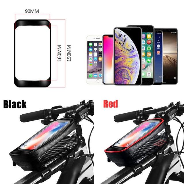 Saco de bicicleta frente à prova dwaterproof água ciclismo saco 6.2 polegada do telefone móvel bicicleta superior tubo guiador sacos mountain ciclismo acessórios 5
