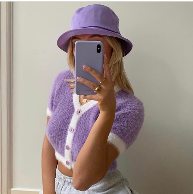 2020 Spring Korean Sweater Women Vintage Pink Cardigan Knitted Cute Sweater Punk Crop Sweater Knit Korean Cardigans Cute Purple