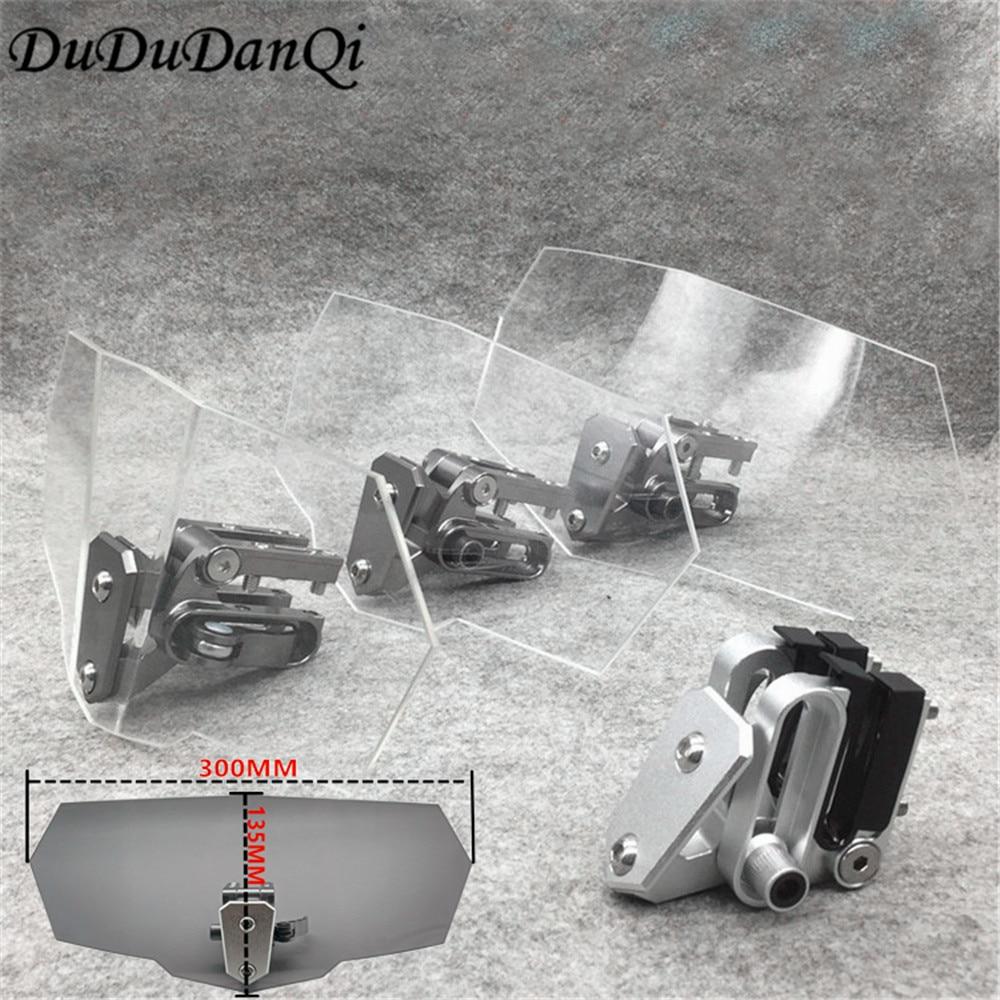 Fluxo de ar Ajustável Deflector de Vento Motocicleta Universal Windshield Windscreen para Kawasaki BMW Ducati honda Benelli Triumph KTM