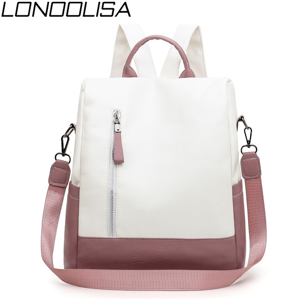 2019 New College Style Women Backpack High Quality Soft Leather Bookpack For Teenage Girls Fashion Contrast Ladies Crossbody Bag
