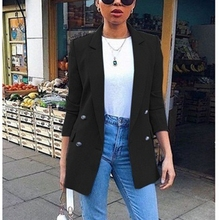 Blazer Womens Suit Jackets 2019 New Long Solid Coats Office Ladies Turn Down Collar Jackets Casual Female Outerwear Suit Blazer