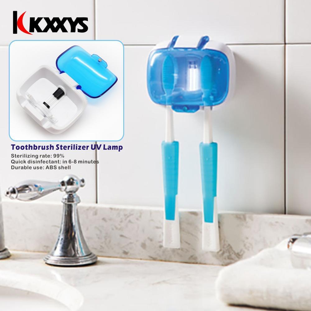 Держатель для зубных щеток стерилизатор для 2 зубных щеток УФ лампа дезинфекция коробка настенный держатель для зубных щеток Здоровье Уход за зубами