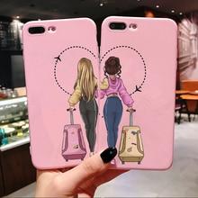 Девочки Bff лучшие друзья навсегда розовый мягкий силиконовый чехол для телефона для iPhone Xs 6 6S 7 8 Plus X XR XS MAX 11 Pro Max задняя крышка Coque