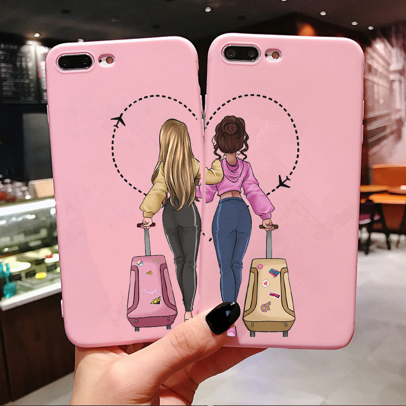 Girls <font><b>Bff</b></font> Best Friends Forever Pink Soft silicone <font><b>Phone</b></font> <font><b>Case</b></font> For iPhone Xs 6 6S 7 8 Plus X XR XS MAX 11 Pro Max Back Cover Coque image