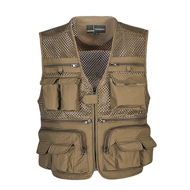 Unloading Men's Vest Tactical Webbed Gear Coat Summer Photographer Waistcoat Tool Many Pocket Mesh Work Sleeveless Jacket Male 1