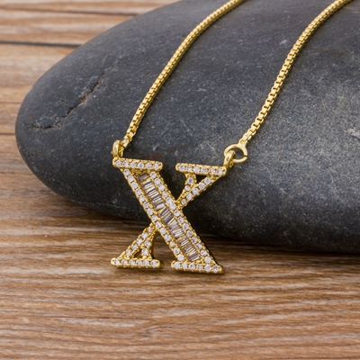 Luxury Gold Color A-Z 26 Letters Necklace CZ Pendant for Women Cute  Initials Name Necklace Fashion Party Wedding Jewelry Gift 16