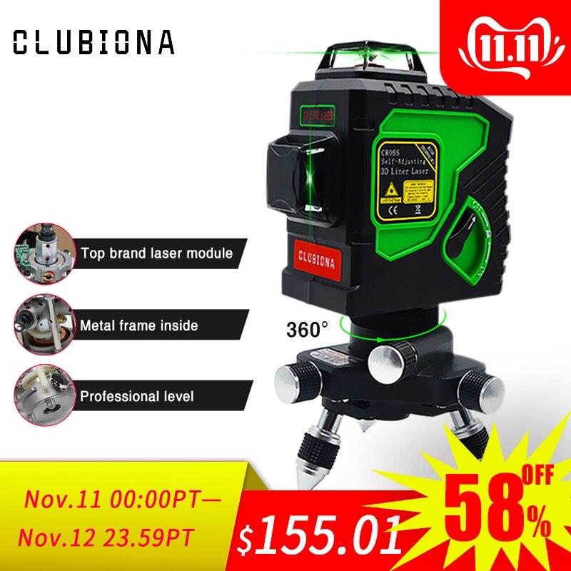 Clubiona 3d 12gh 12 linhas de nível do laser com auto-nivelamento super poderosas linhas de feixe de laser verde e msds habilitado bateria