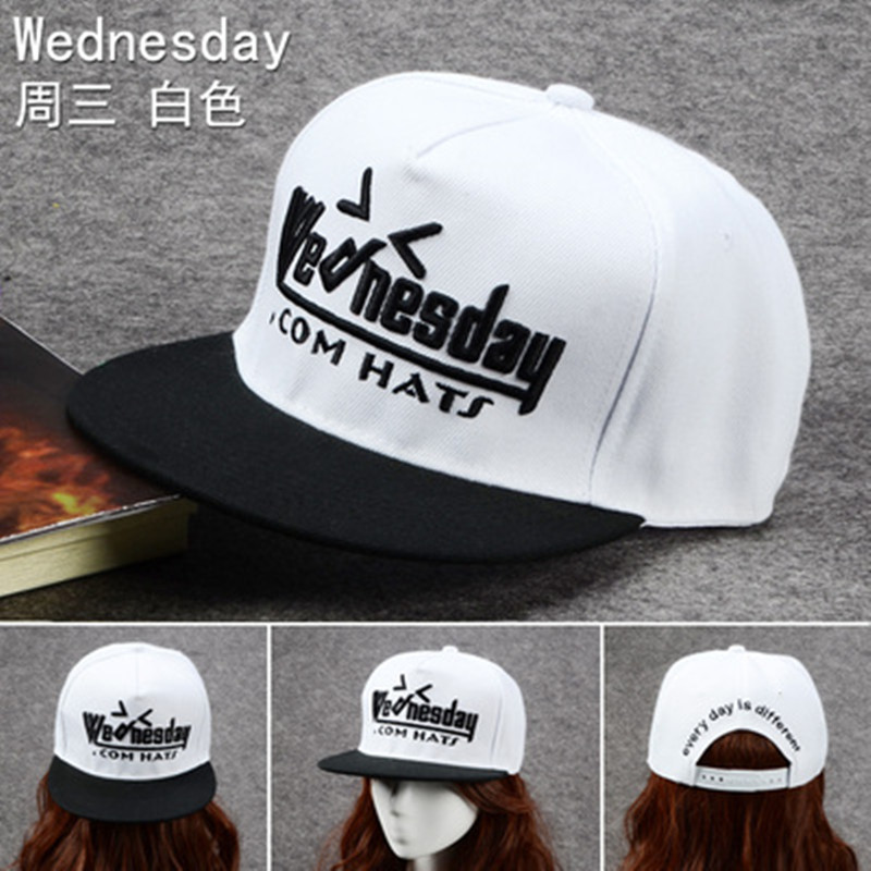 Women Spring Autumn Outdoor Street Hip Hop Cap With Monday To Sunday White 3D Embroidery Japanese Sunscreen Flat-edge Hat C153