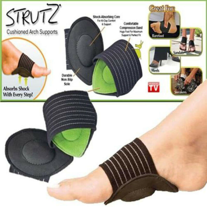 2019 1 Pair Foot Support Strutz Cushioned Insoles Arch Helps Decrease Plantar Fasciitis Pain