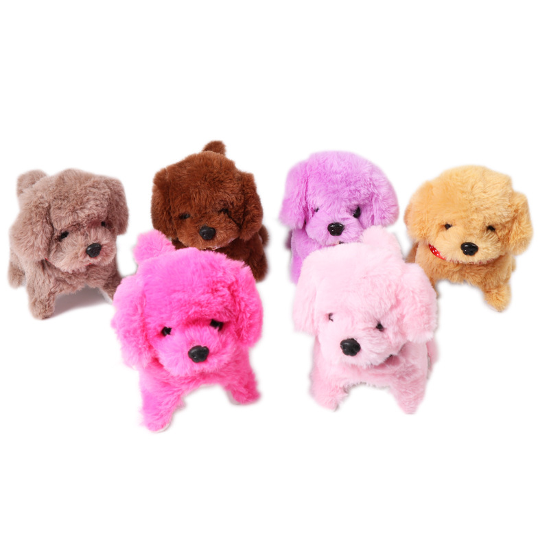 Cross Border Hot Sales Electric Forward Backward Will Call Dog Solid Color Neck Ring Plush Doll Strange New Creative Toy