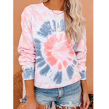 Women Long Sleeve O-Neck Tie dye T Shirt Casual Loose Plus Size Female Top Tee Autumn 2020 Cotton Color Print tshirt Clothes water color planet print tee