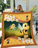 Dropshipping 3D Bee Pig Quilt Blanket For Kids Adults Bedding Throw Soft Warm Thin Blanket With Cotton Quilt King Size