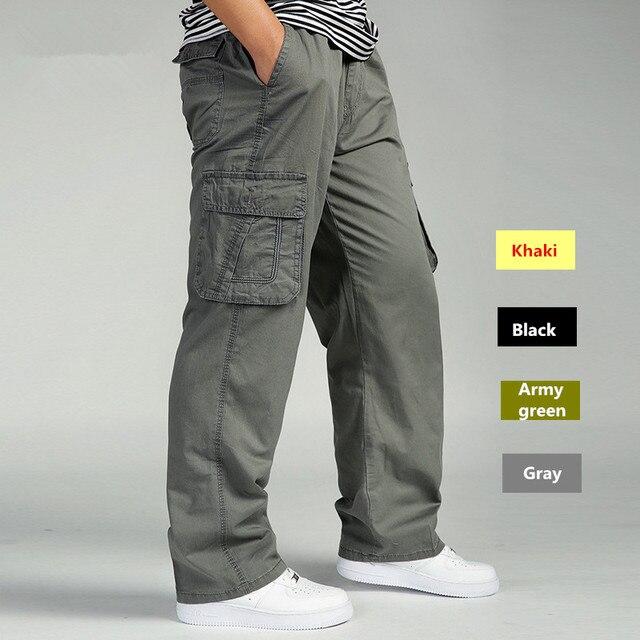 גברים מכנסיים מטען הכוללים גבר Loose עבודה מכנסיים צבאי צבא ירוק בתוספת גודל 4XL 5XL 6XL פועל חאקי ארוך בבאגי מכנסיים