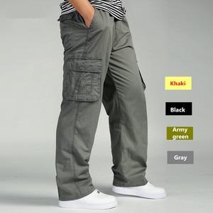 Image 1 - Men Cargo Pants Man Overall Loose Working Trousers Military Army Green Plus Size 4XL 5XL 6XL Workman Khaki Long Baggy Pants