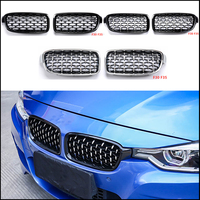 For Bmw F10 F18 F30 E90 F35 G30 G38 X1 X3 X4 X5 X6 Z4 E89 Glossy Black Car Tuning Front Diamond Kidney Grill Mesh Grille A Pair