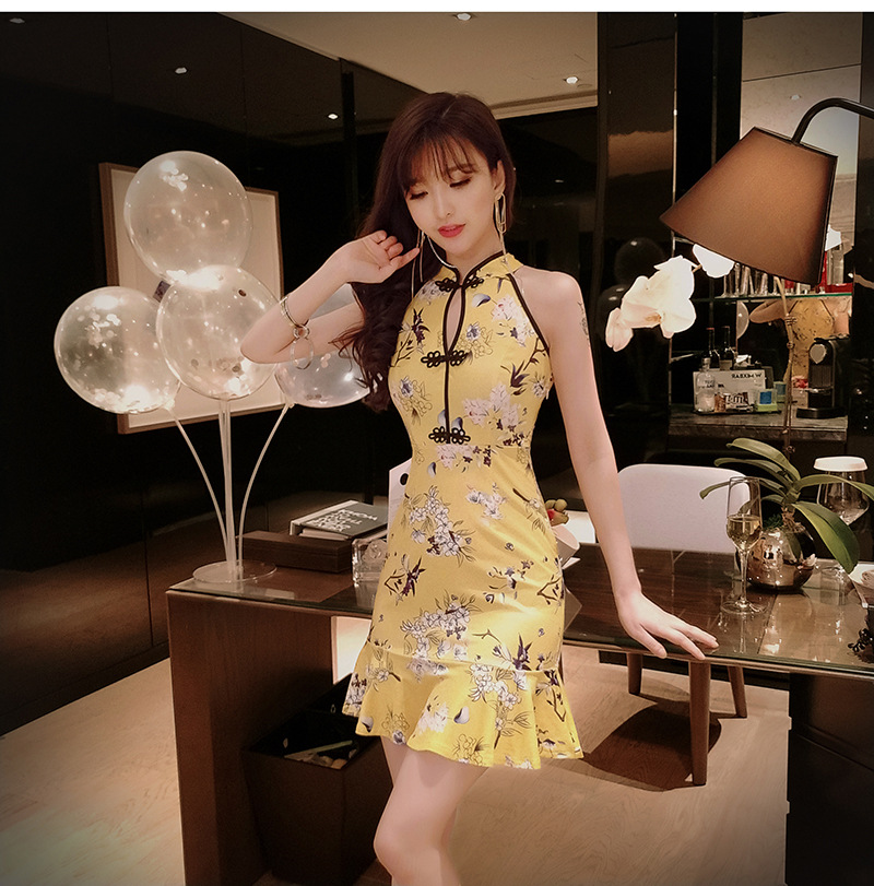Online Celebrity Douyin Live--Cheongsam 2019 Summer Slim Fit Sheath Printed Flounced Dress H4015