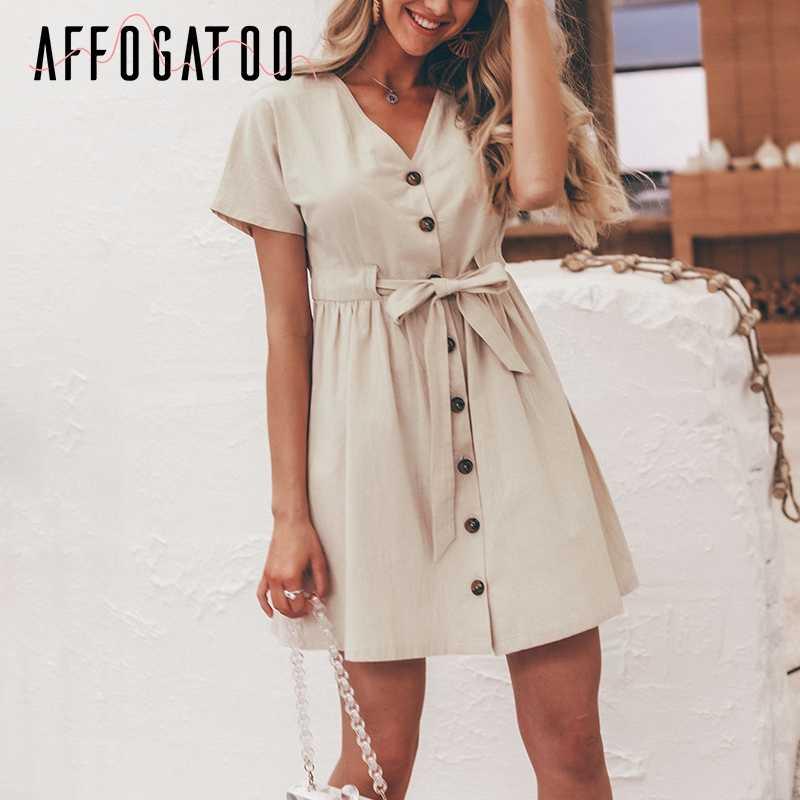 Affogatoo ヴィンテージ v ネック夏リネンドレス女性カジュアル半袖ボタンコットンドレスの女性ハイウエストミニドレス vestidos