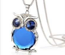 Sweater Chain Necklace Pendant Fashion Exquisite Owl Eye Crystal Necklace Clothing Accessories Jewelry