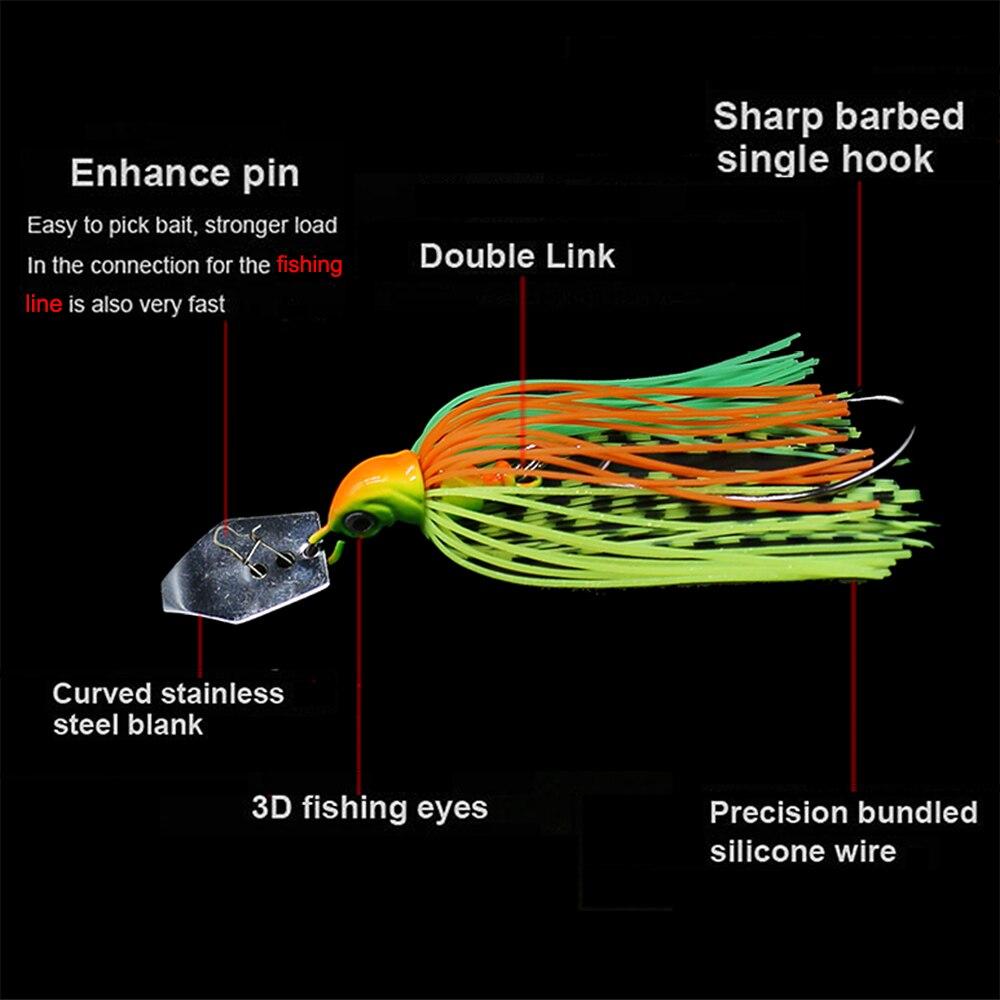 JonStar 12pcs/lot 7G/13G/16G chatterbait fishing lure Buzzbait chatter bait wobbler rubber skirt for bass pike walleye-1