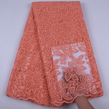 Peach 5 Yards With Sequins Milk Silk Lace Fabrics 2019 French Mesh With Flowers Style Milk Silk Laces For Wedding Party 1715