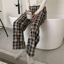 Для сна низ домашние штаны женщин домашняя клетчатая ботильоны