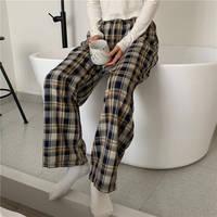 Pantalones de casa con parte inferior para dormir para mujer, pijama a cuadros, largo hasta el tobillo, de pierna ancha, cómodo, elástico, Vintage, de gran tamaño