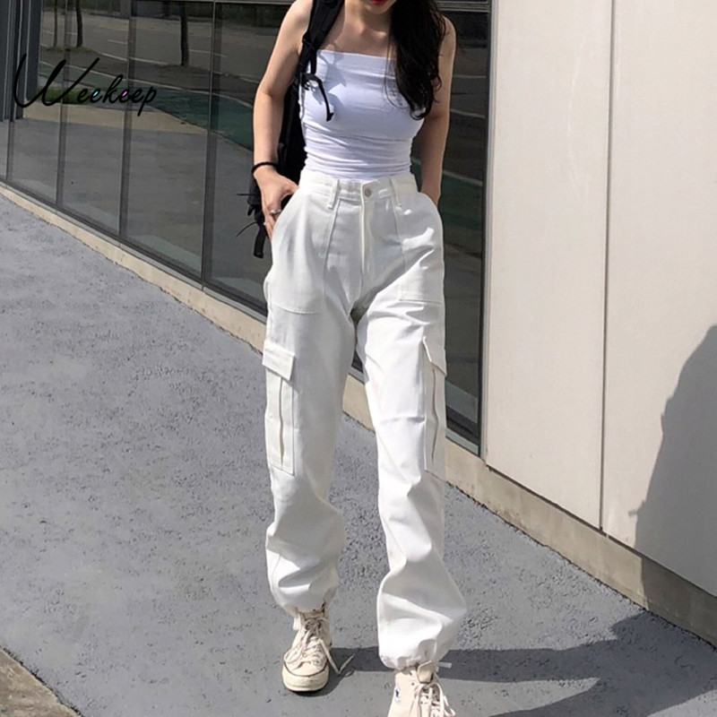 Weekeep Button Pockets Patchwork Cargo Pants Women Streetwear High Waist Trousers Women 2019 Fashion Pencil Pants Joggers Women