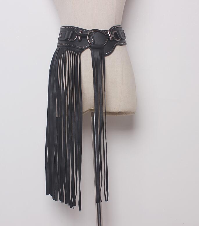 Women's Runway Fashion PU Leather Tassel Cummerbunds Female Dress Coat Corsets Waistband Belts Decoration Wide Belt R1737