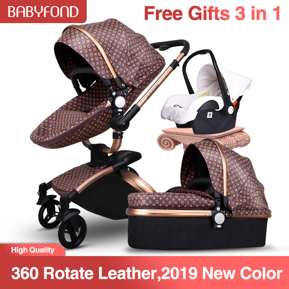 High Quality 3 In 1 Leather Baby Strollers 360-rotating Seats Light Folding Export  Baby Pram  Brand Black  Frame