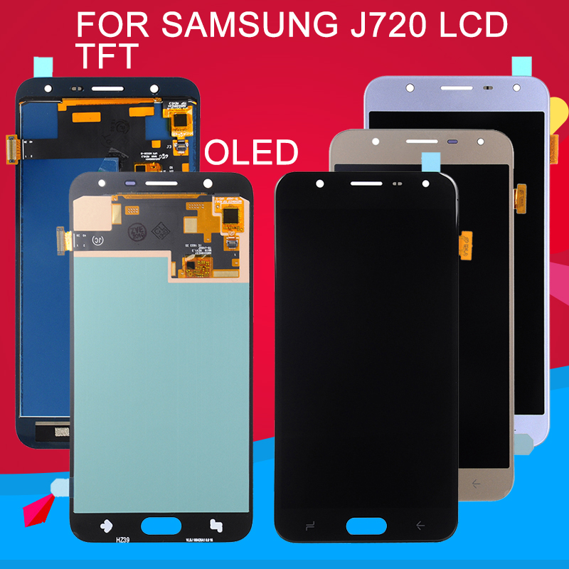 Dinamico OLED <font><b>J720</b></font> <font><b>Lcd</b></font> For Samsung Galaxy J7 2018 <font><b>Lcd</b></font> J7 DUO Display With Touch Screen Digitizer Assembly Free Shipping image