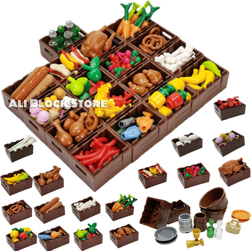 City Food MOC Drumstick Turkey Kitchen Tool Building Blocks Toys for Children Compatible for Locking Gifts Kids