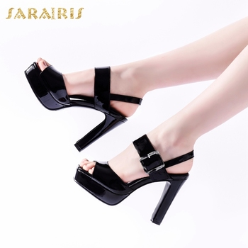 Sarairis Fashion New Design Genuine Cow Leather Platform Summer Sandals Woman Shoes High Heels Peep Toe Buckle Strap Shoes Women
