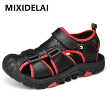 2020 New Men Summer Sandals Genuine Leather Casual Shoes Man Roman Style Beach Sandals Brand Men shoes Big Size Summer Sneakers new men shoes genuine leather men sandals summer men causal shoes beach sandals man fashion outdoor casual sneakers size 38 48