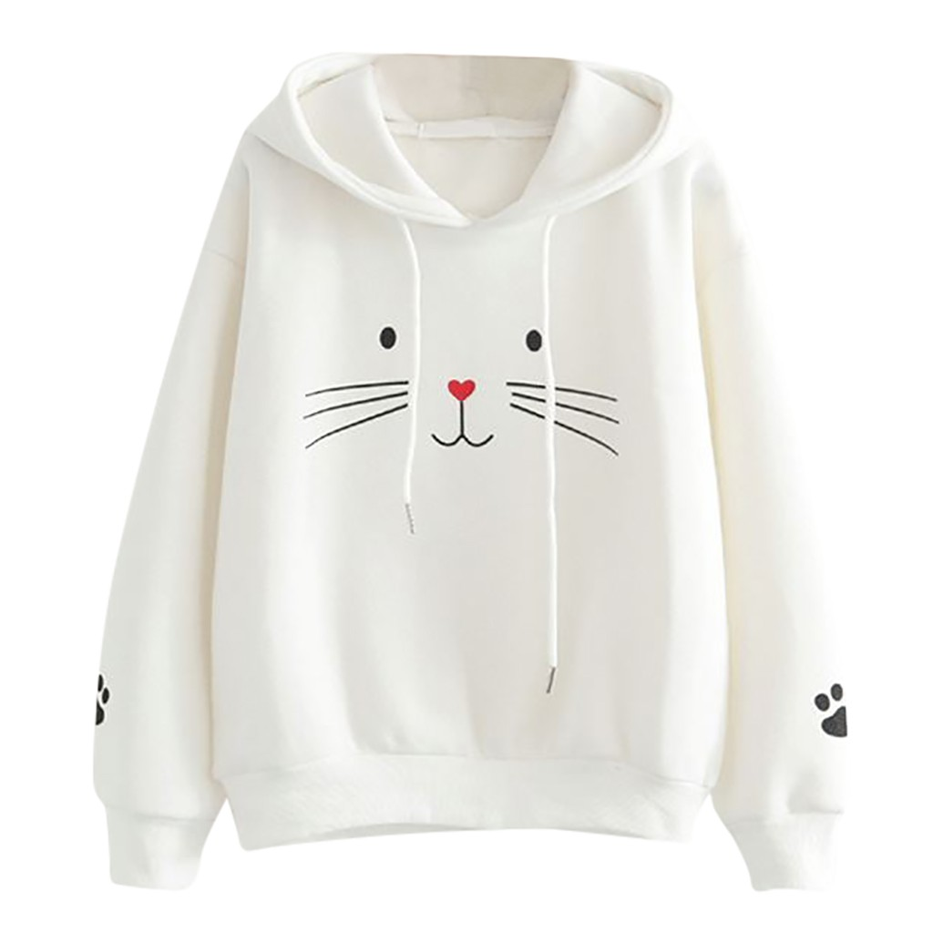 JAYCOSIN Fashion Autumn Women Casual Cat Printing Sweatshirt Unique Elegant Comfortable Chic Hooded Pullover Tops Loose Blouse