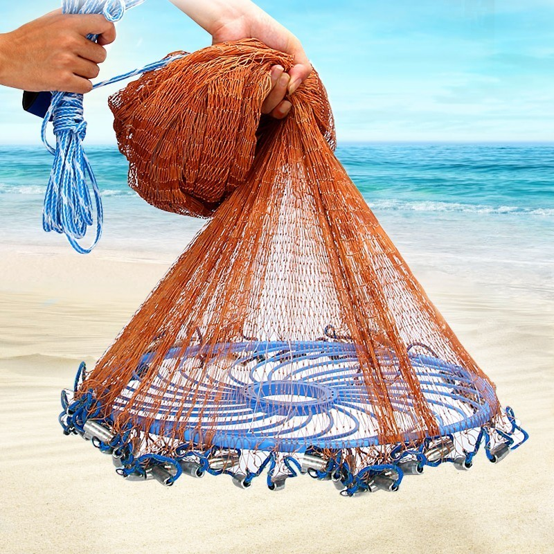 Upgraded American Hand Cast Net with Flying Disc High Strength Fly Cast Fishing Network 300/360/420/480/540/600/720cm Throw Net