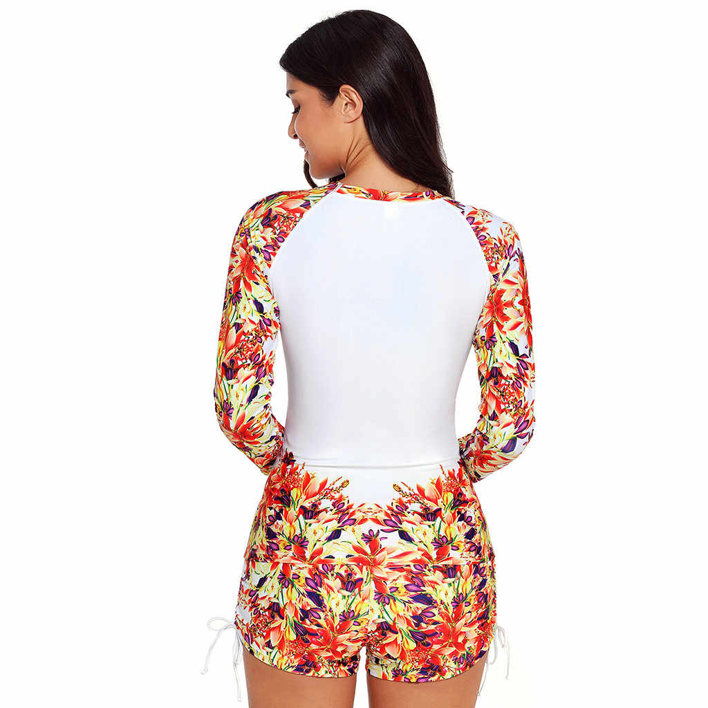 Модный стиль, высококачественный купальный костюм для серфинга, женский купальник с длинным рукавом, УФ Защита от солнца, UPF 50 + Rash Guard Top, 2 предмета, костюм # F