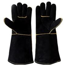Кожаная прихватка для духовки, перчатки для приготовления пищи, перчатки для выпечки, защита рук, сварка, термостойкие