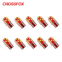 CROSSFOX 10x Car LED T10 SMD12 W5W 194 LED Parking Bulb Interior Lamp Wedge Clearance License Light Bulbs White Yellow Blue Red(China)