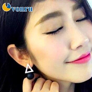 Joyería coreana, pendientes sencillos triangulares asimétricos pentagonales para mujer, bola cuadrada de estrella, Blanco, Negro, talón, oreja, boucle doreille