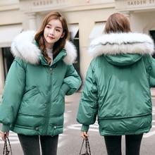 Women winter Parkas jacket Fashion thick warm big fur collar hooded jacket coat winter fur parkas