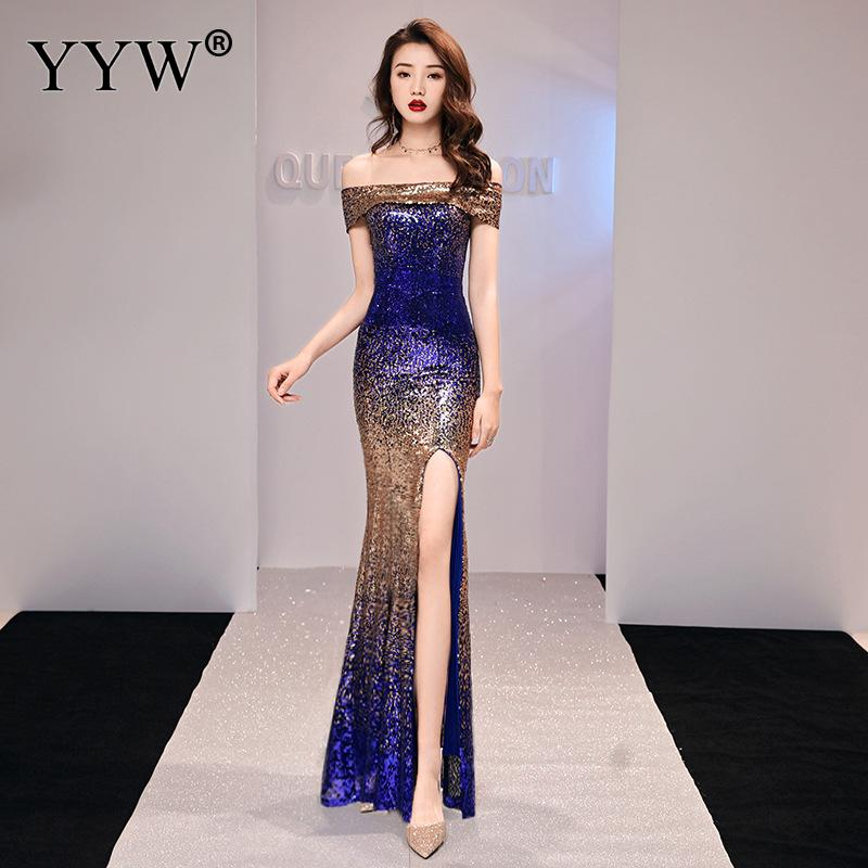 Sexy Off Shoulder Sequined Evening Dress High Split Gradient Color Women Long Party Dress Fashion Elegant Mermaid Formal Dresses