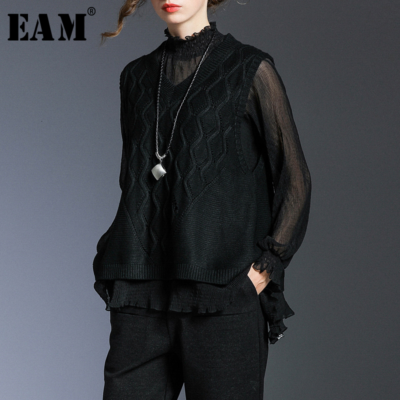 [EAM] Women Black Perspective Pleated Split Joint T-shirt New Turtleneck Long Sleeve  Fashion Tide  Spring Autumn 2020 1N175