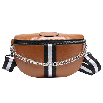 Fashion Wild Women's Belt Bag Solid PU leather Metal Chain Sum Per Band Fanny Pack Bananka Satchel Belly Band Waist Bag fashion waist bag solid color pu leather metal button chain saddle bag fanny pack bananka women wild satchel belly band belt bag