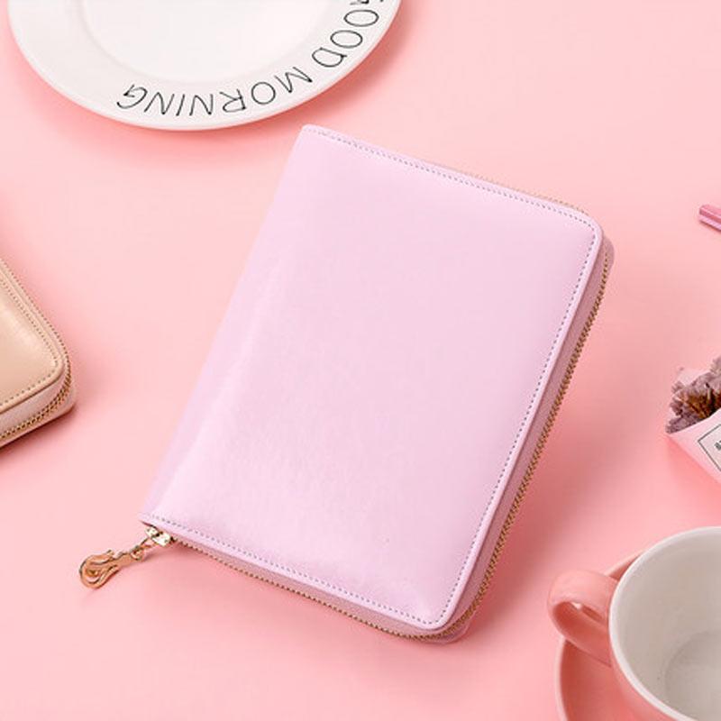 2019 PU Leather A6 Zip Bag Diary Schedule Book Planner Diary Loose-leaf Binder Cute School Supplies