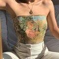 Летние женские сексуальные топы с открытыми плечами, новинка 2021, майки без бретелек с открытой спиной и принтом, пикантные женские топы, оде...